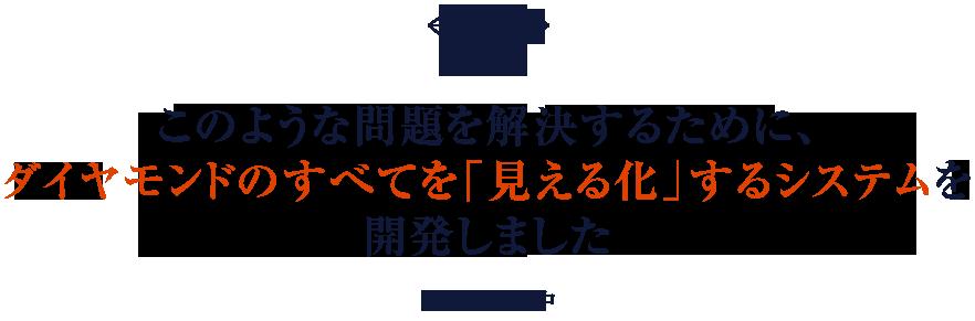 このような問題を解決するために、ダイヤモンドのすべてを「見える化」するシステムを開発しました